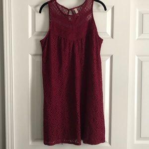 Xhiliration Lace Sleeveless Burgundy Dress Large